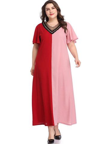 Patchwork Lace Sequins Dress