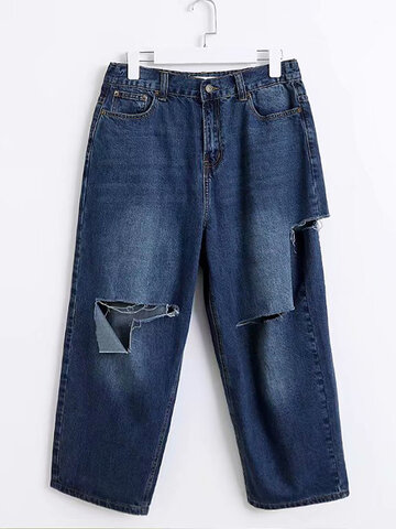 Hollow Solid Color Jeans