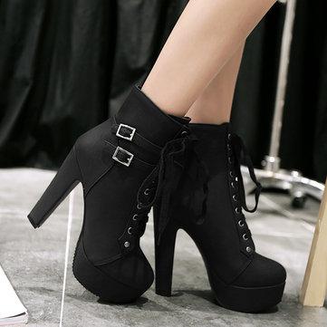 Plus Größe Stiletto Schnallenriemen Stiefel Für Damen