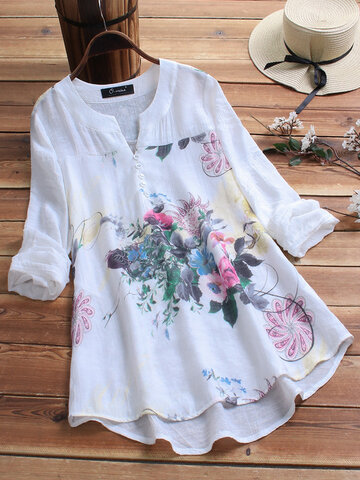 Vintage Print Patchwork Plus Size Blouse for Women