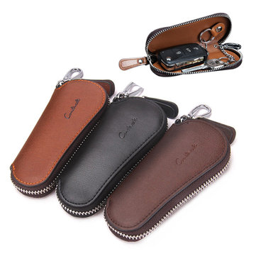 Men Genuine Leather Vintage Outdoor Casual Key Bag