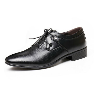 Men Serpentine Pattern Lace Up Formal Shoes