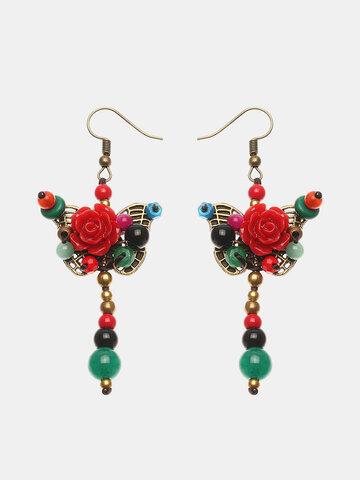 Women's Ethnic Earrings Retro Butterfly Flower Agate Earrings
