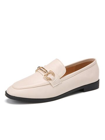 Dress Shoes Metal Decor Slip On Loafers