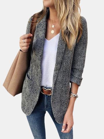 Однотонный пиджак с длинным рукавом