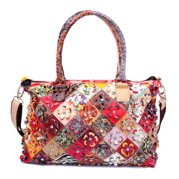 Women Genuine Leather Flower Patchwork Bags