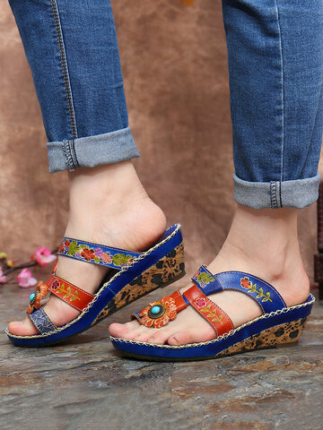 SOCOFY Toe Ring Wedge Sandals