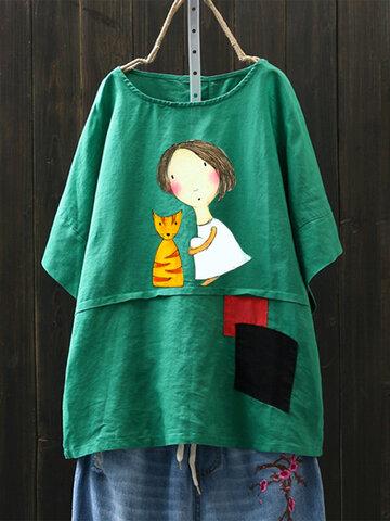 T-shirt carina con stampa di cartone animato