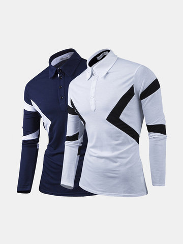 Hit Color Long Sleeve Golf Shirts