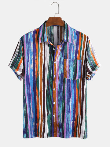 Cotton Colorful Striped Shirt