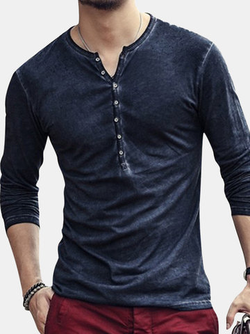 Mens 100% Cotton Distressed Design Button Placket T-shirt