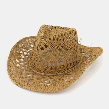 Sunscreen Sun Hat Western Cowboy Straw Hat Hand-Woven Couple Cap
