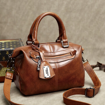 Vintage Oil-wax PU Leather Soft Handbags