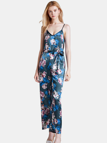Silk Floral Sleeveless Jumpsuits Pajamas