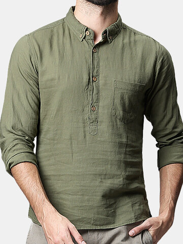 Mens 100% Cotton Breathable Solid Color Turndown Collar Casual Buttons T Shirts, Dark green army green off white