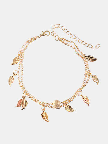 Double Layer Leaf Pendant Anklet