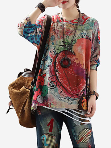 Graffiti Print Thin Spring Sweater