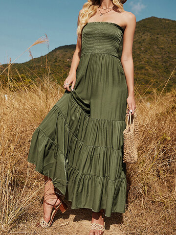 Solid Color Pleated Flare Jumpsuit