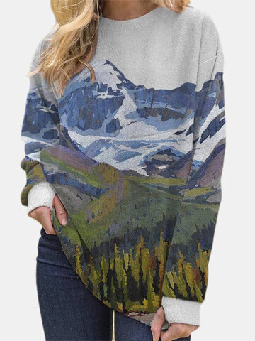 Landscape Print Fleece Blouse