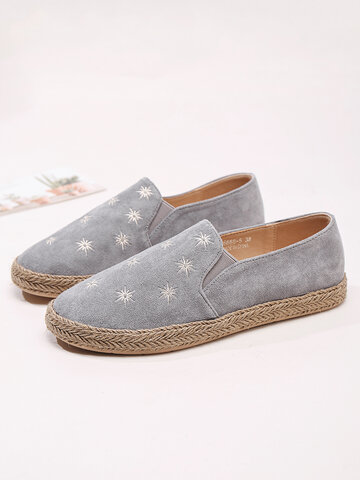 Suede Star Embroidered Espadrilles Flats Loafers
