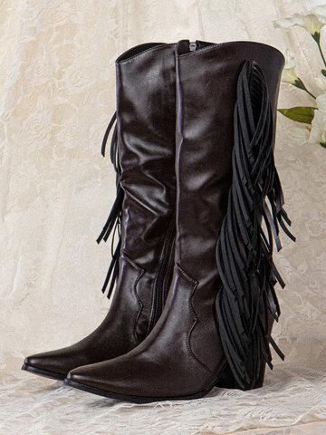 Retro Fashion Tassel Cowboy Boots