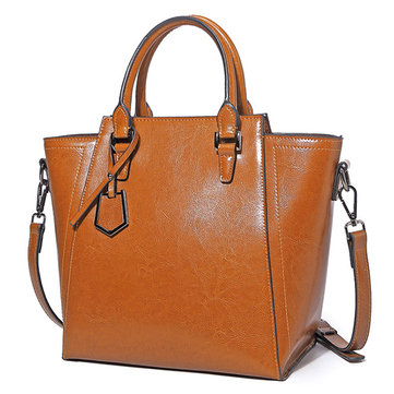 Women Genuine Leatehr Leisure Oil Wax Retro Handbags
