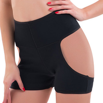 Buttocks Hollow Hip Lifting Belly Control Shapewear, Black nude