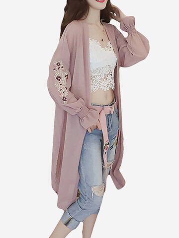 Floral Embroidered Long Sunscreen Cardigan