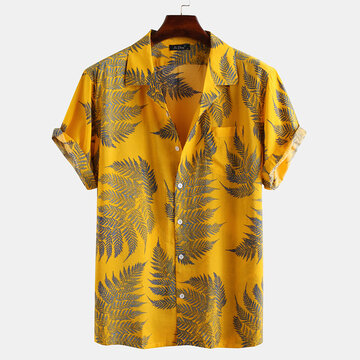 Mens 100% Cotton Leaf Printed Shirts