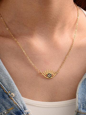 Geometric Eye Shape Pendant Necklaces
