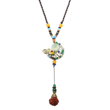 Ethnic Style Necklace Moon Jade Rode Necklace