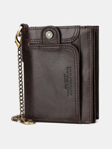 Genuine Leather RFID 14 Card Slots Coin Purse Large Capacity Chains Wallet