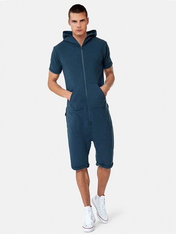 newchic / Comfy Casual Hooded Short Sleeve Onesies