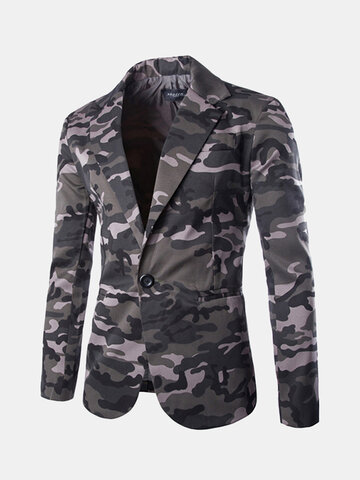 Mens Camouflage Single Breasted Slim Long Sleeve Suit