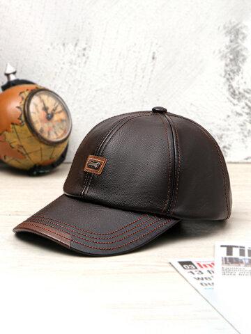 Men PU Leather Vintage Baseball Cap