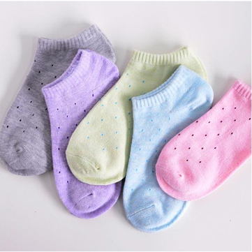 Women Cute Cotton Polka Dot Soft Candy Short Socks Casual Breathable Boat Socks