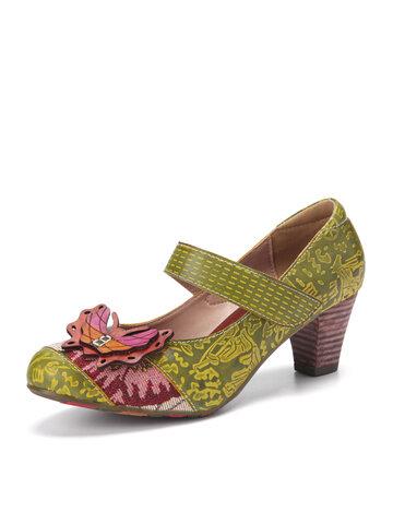 حذاء بكعب سميك من جلد البقر بطبعات فراشة Deocr من SOCOFY