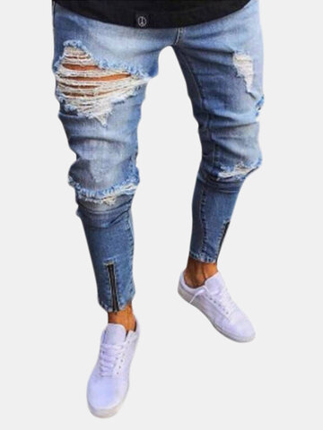 Skinny Ripped Zipper Design Jeans