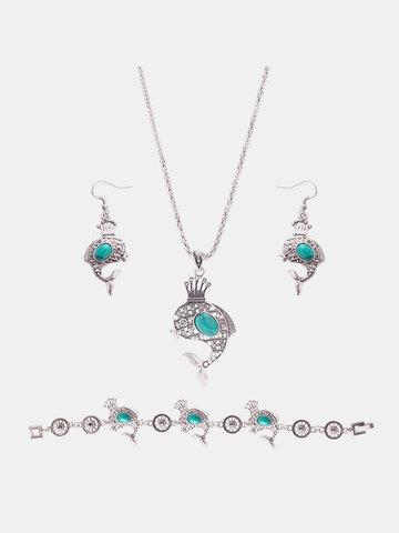Cute Jewelry Set Dolphin Crown Turquoise Necklace Earrings Bracelet Kit