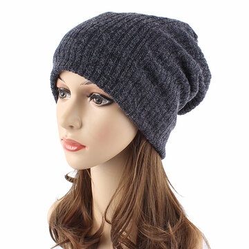 Women Autumn Winter Warm Knit Hat Outdoor Stripes Skullies Beanies Cap, Black