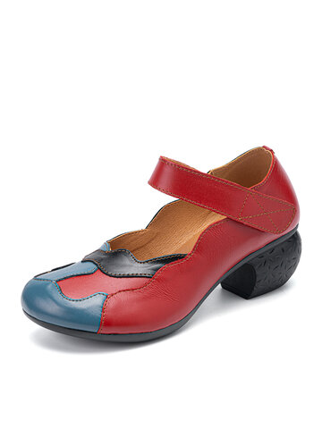 Socofy Leather Mary Jane Pumps