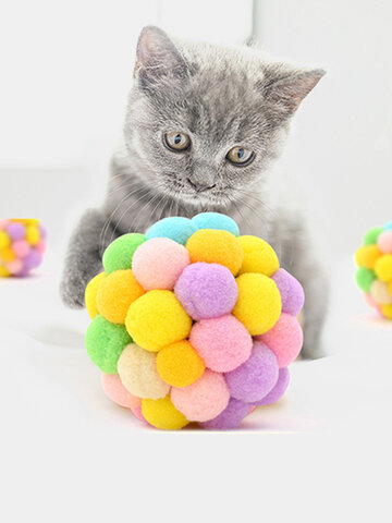 1Pc Funny Cat Interactive Ball Toy Pet Interesting Colorful Handmade Bell Bouncy Ball Plush Rainbow Ball Pet Supplies