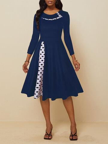 Patched Print Big Swing Dress