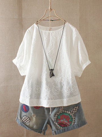 Embroidery Floral Short Sleeve Blouse