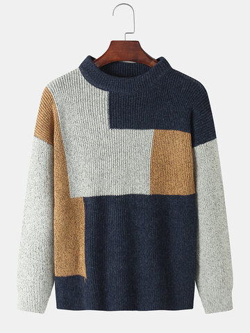 Contrast Color Knitted Sweater