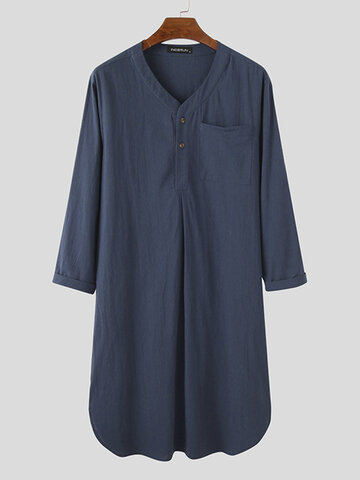 Long Henley Shirt Design Sleepwear Robe