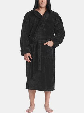 Solid Color Flannel Thicken Robe