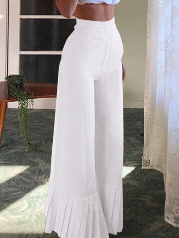 Pleated Patchwork Wide Leg Pants