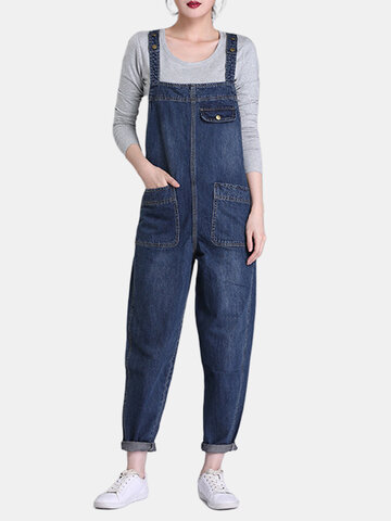 Denim Pockets Rompers For Women