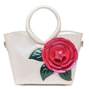 Casual Peal Patent Leather Coloful  Sweet Lady's Handbag